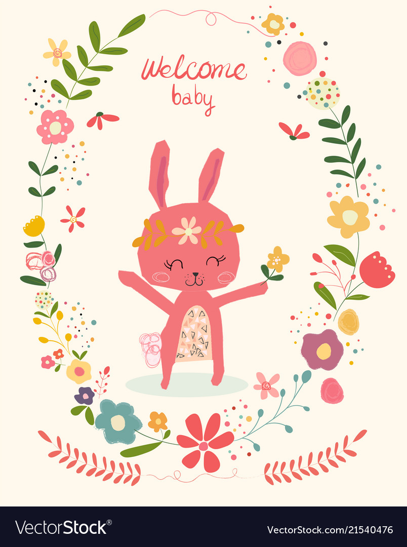 Doodle cute pink bunny in flower wreath frame bab