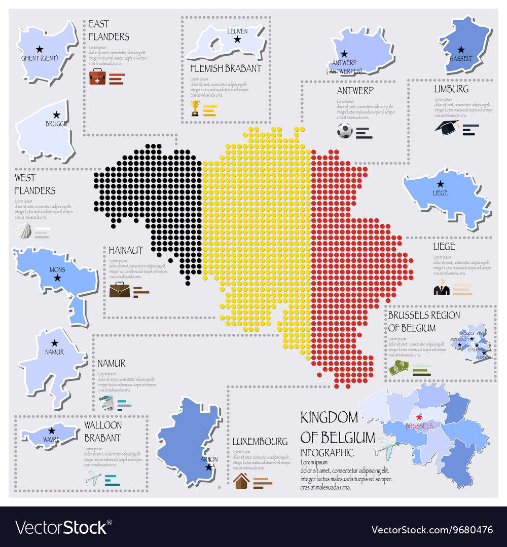 Dot And Flag Map Of Belgium Infographic Design Vector Image