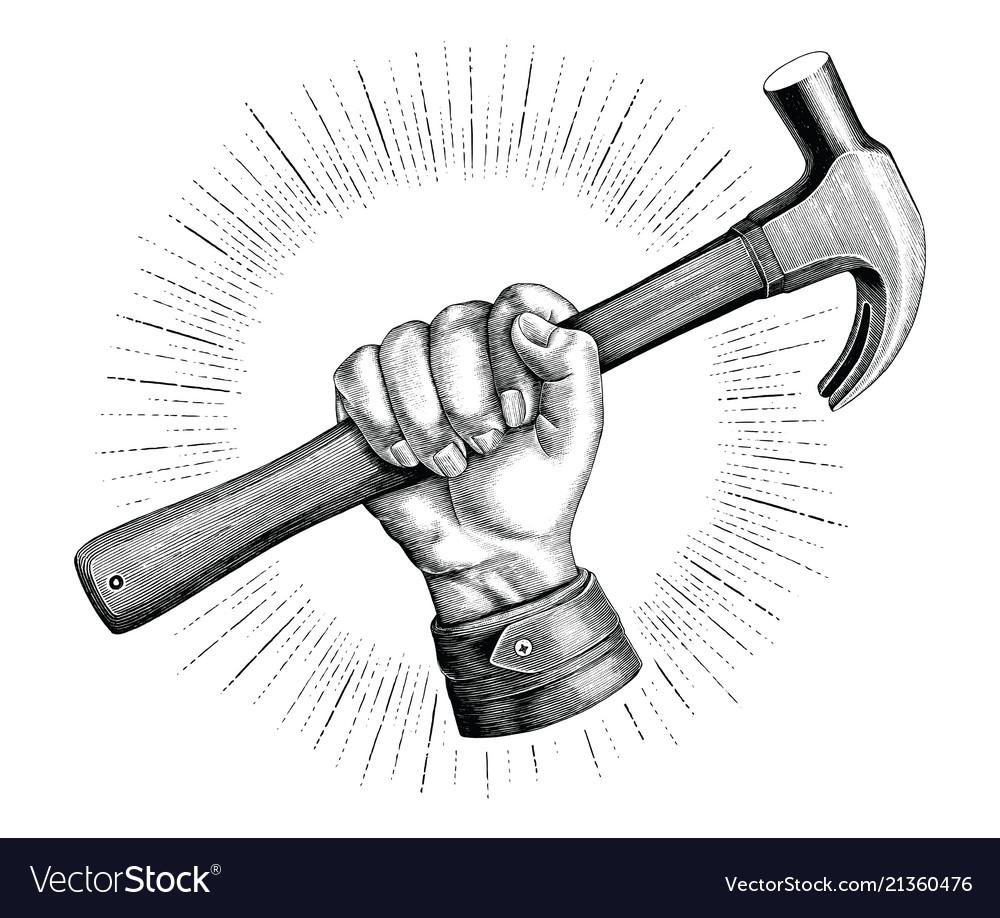 Hand holding hammer vintage clip art