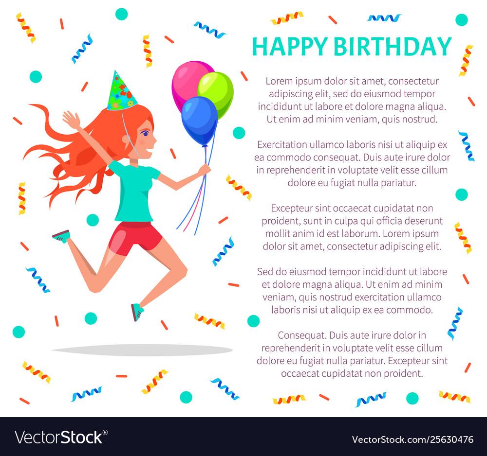 Happy birthday poster teenage girl in festive hat