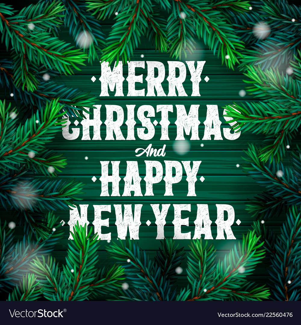 merry christmas and happy new year greeting card vector image vectorstock