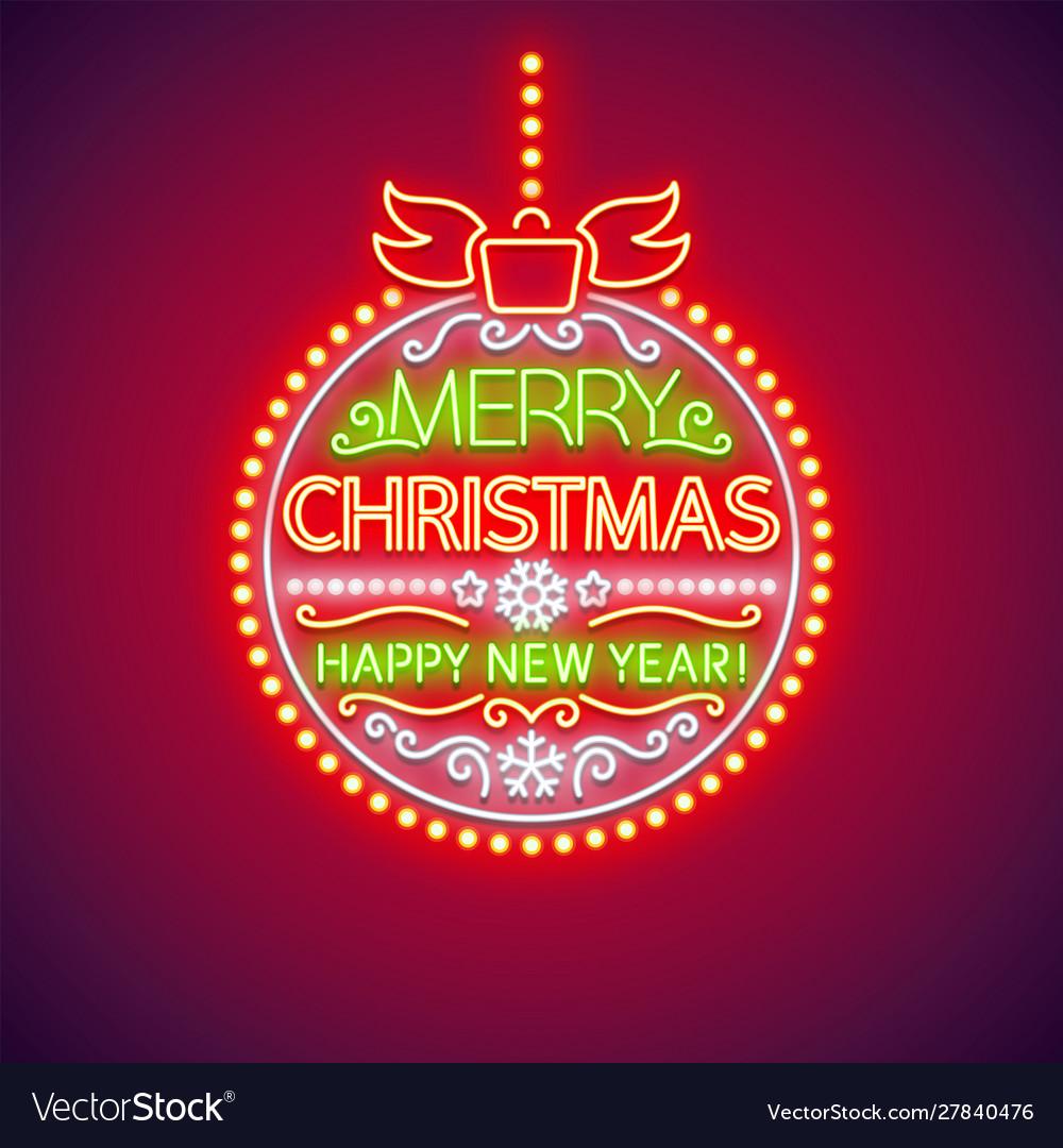 Merry christmas ball neon sign