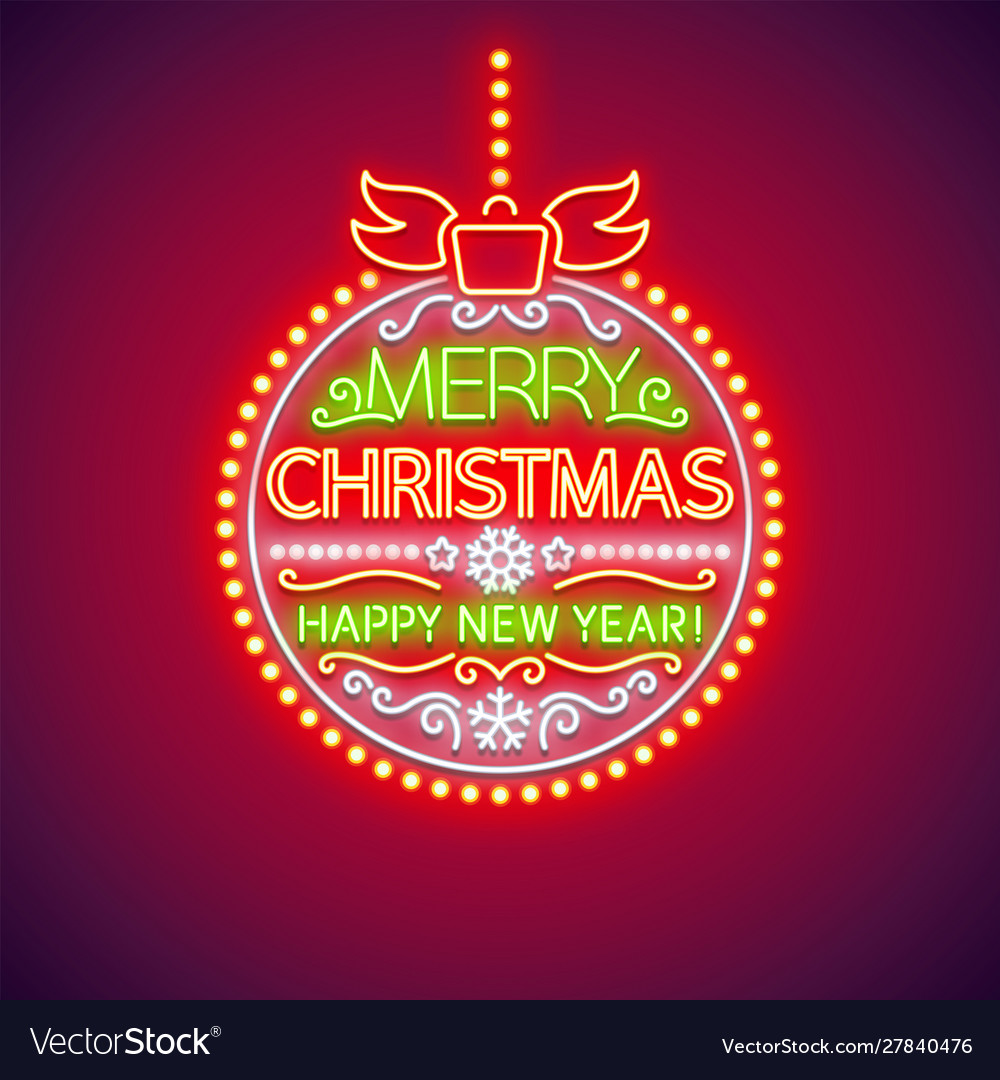 Merry christmas red ball neon sign