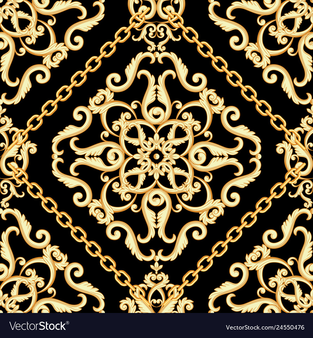 Seamless damask pattern golden beige on black