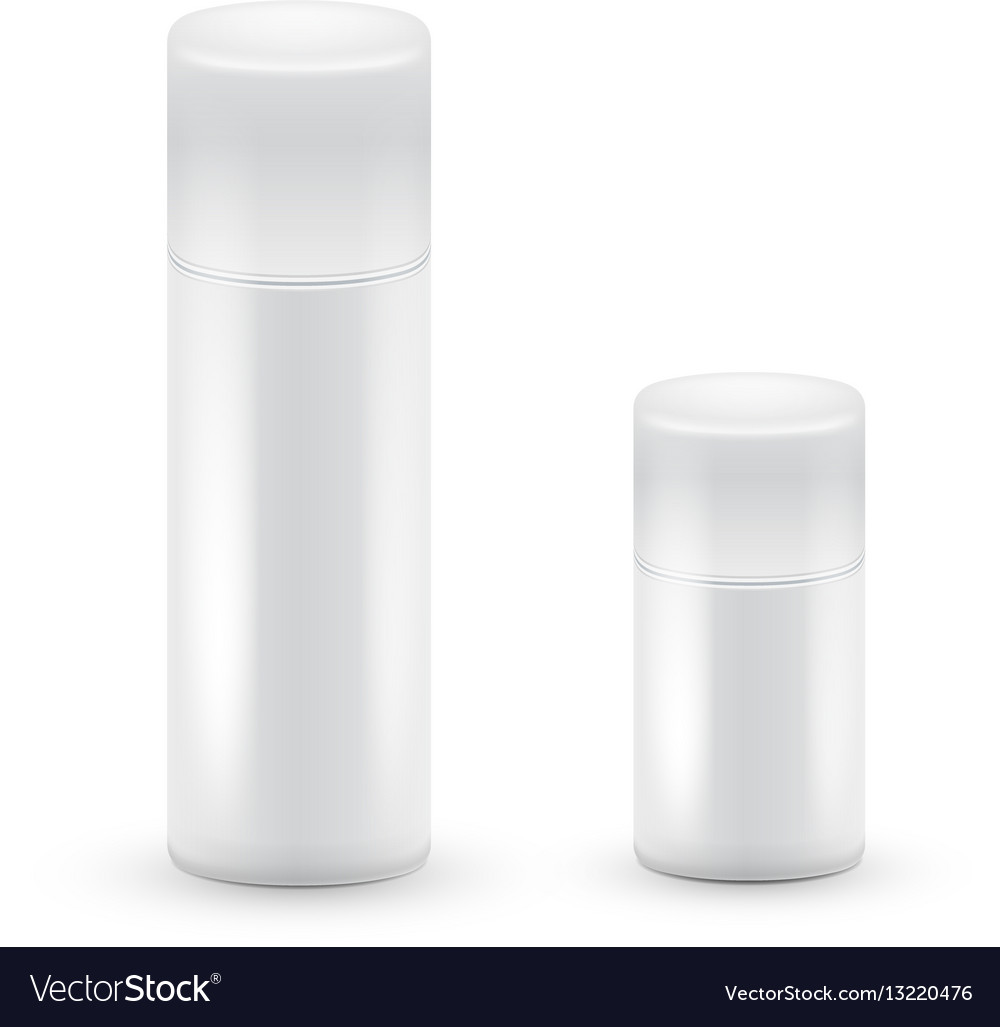White big and small bottles of aerosol spray vector image