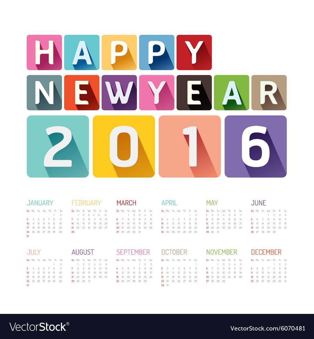 2016 Calendar colorful happy new year design