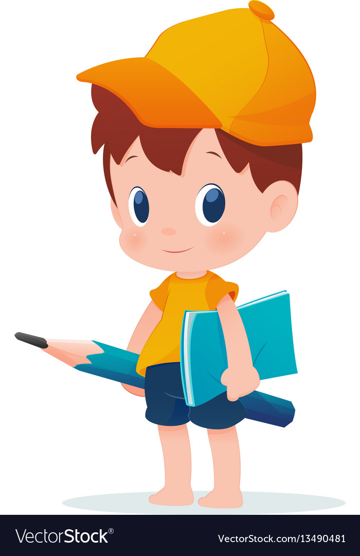 A boy in school uniform posing with a huge pencil