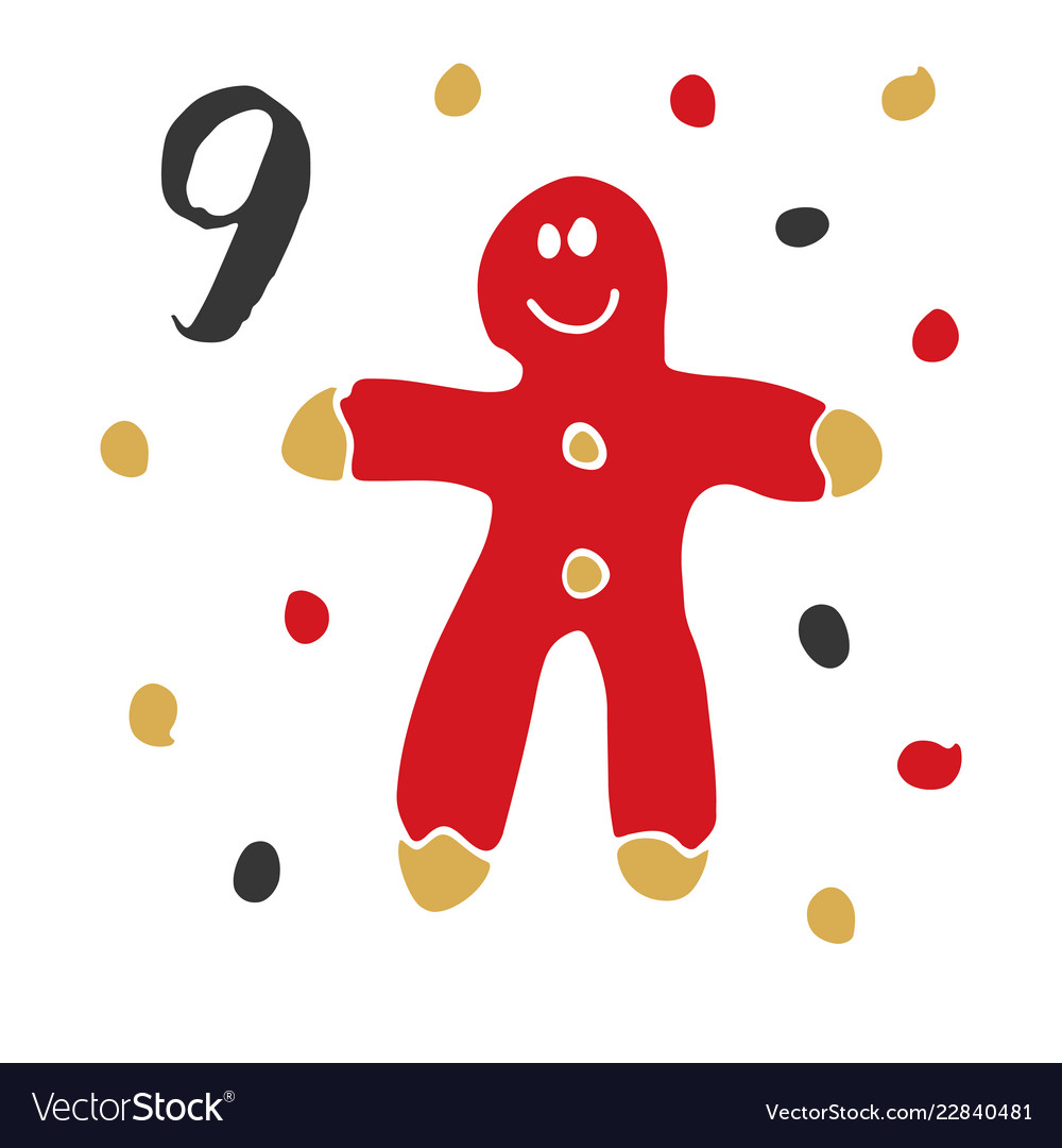 Christmas advent calendar hand drawn elements and