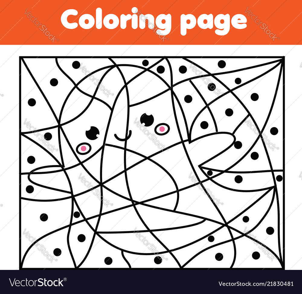 Coloring page with halloween ghost color by dots Vector Image