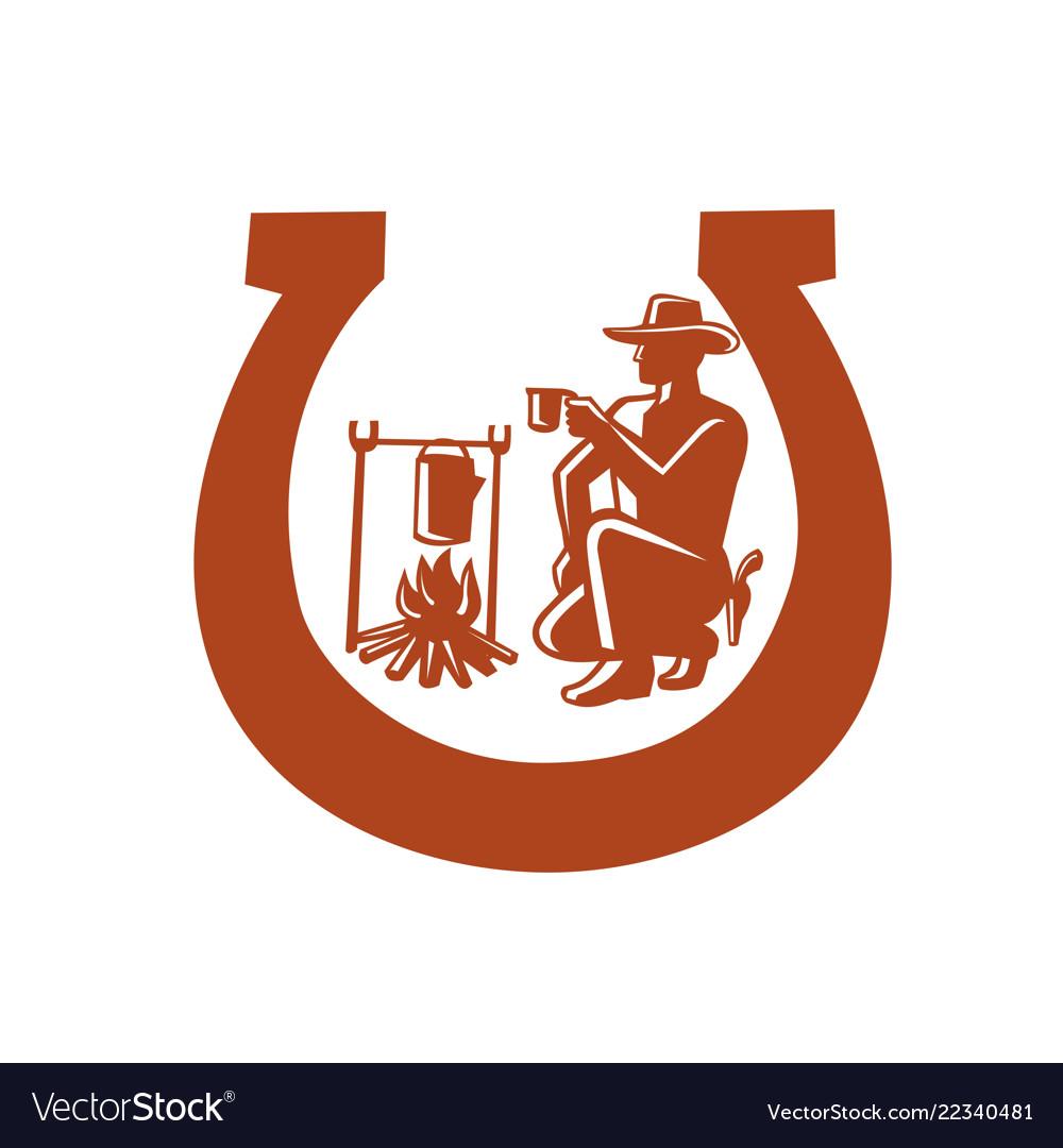 Cowboy drinking coffee horseshoe mascot