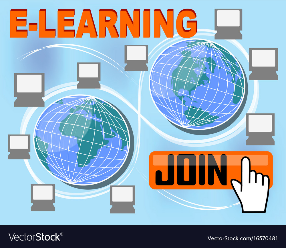 E-learning banner with group of computers around vector image