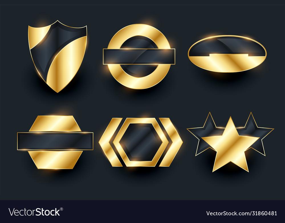 Golden empty badge labels elements collection