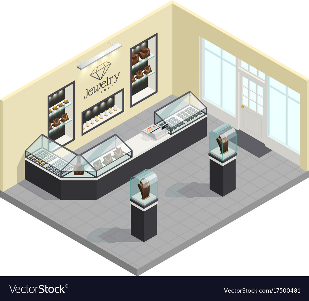 Jewelry Shop Isometric Interior Royalty Free Vector Image