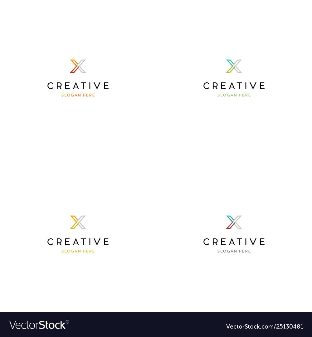Letter x technology creative logo design