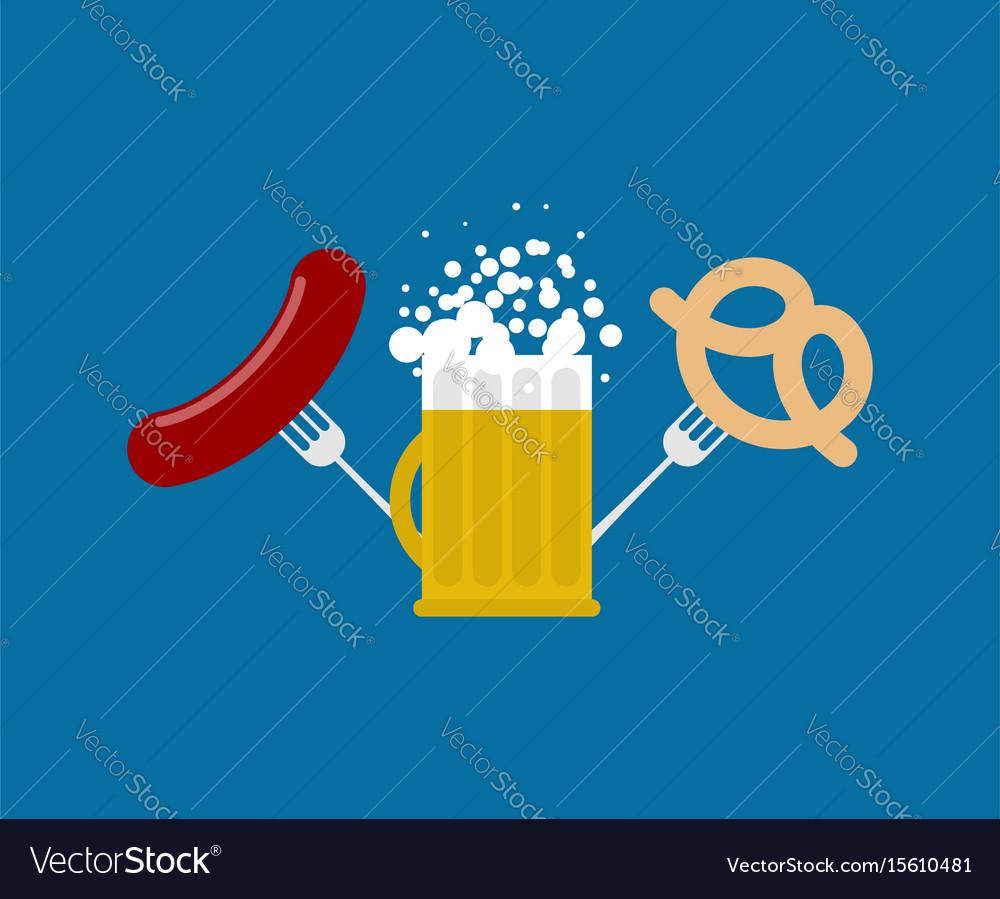 Mug beer and sausage and pretzel logo for