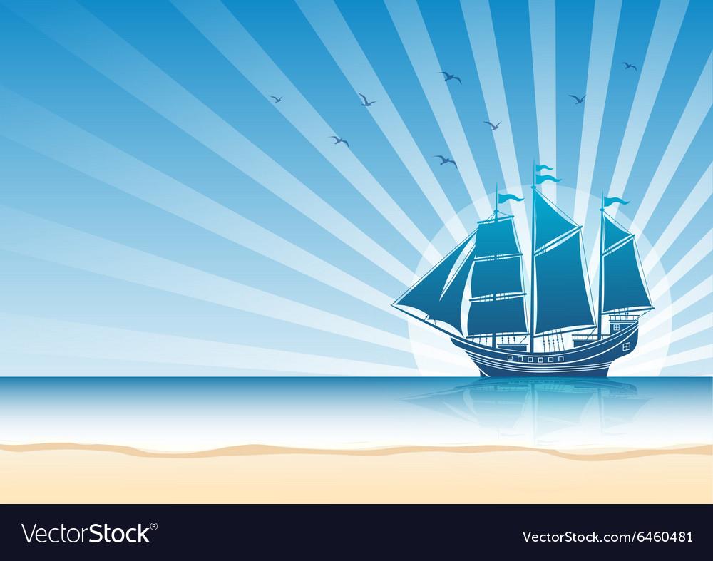 Sail ship background5 vector image