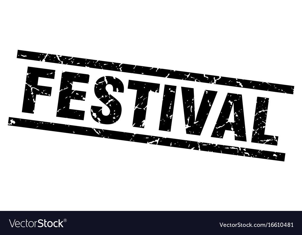 Square grunge black festival stamp