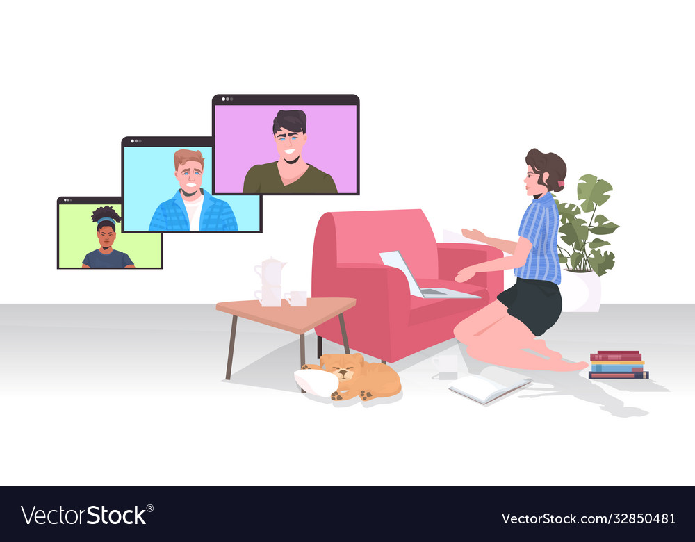 Woman chatting with mix race colleagues in web