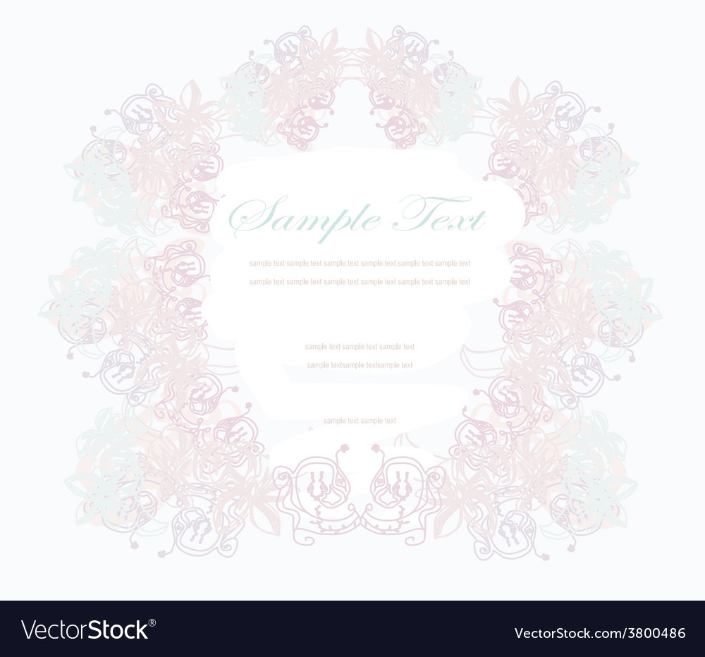 Abstract floral frame invitation card