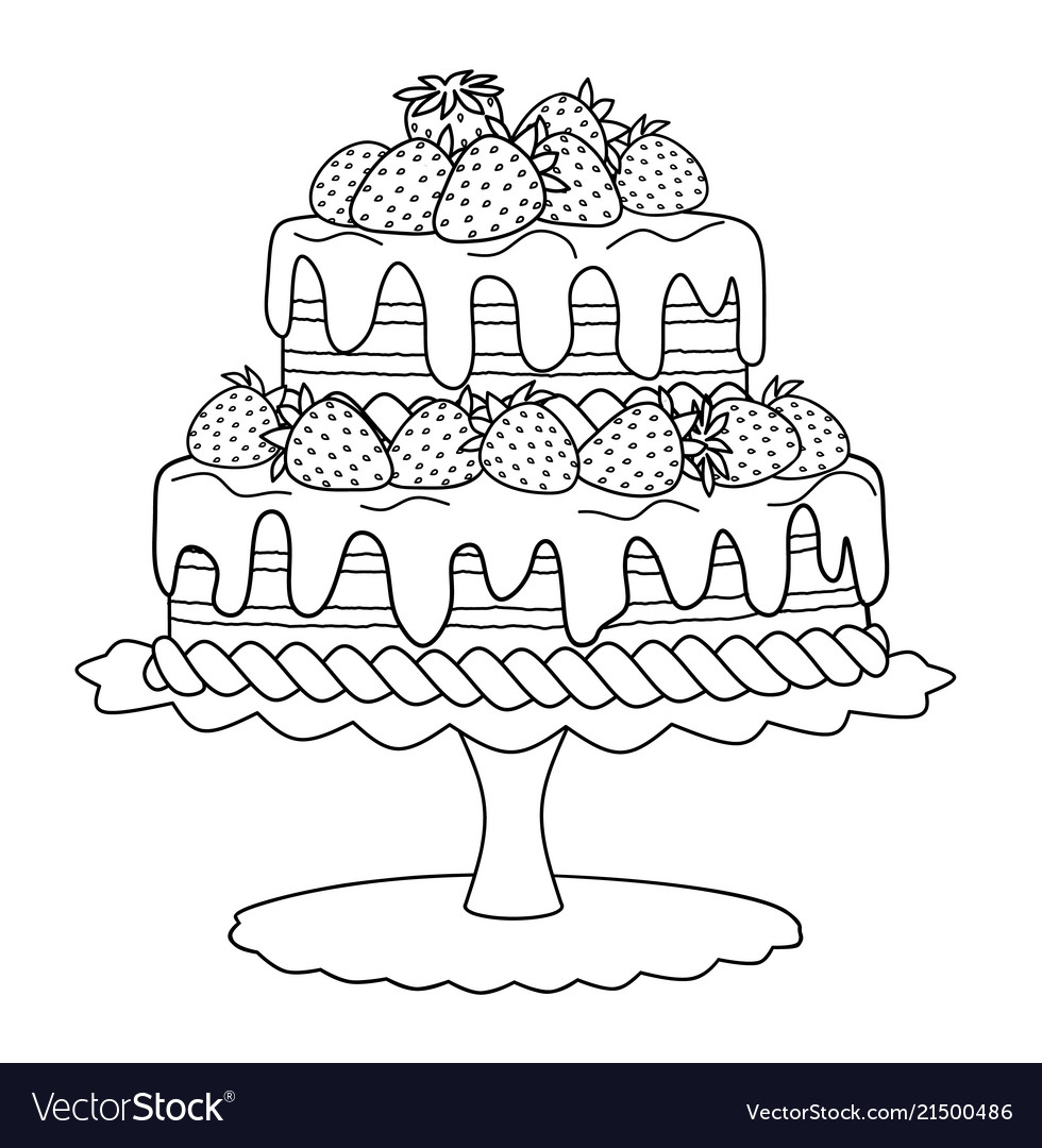 Cake with strawberries for coloring book