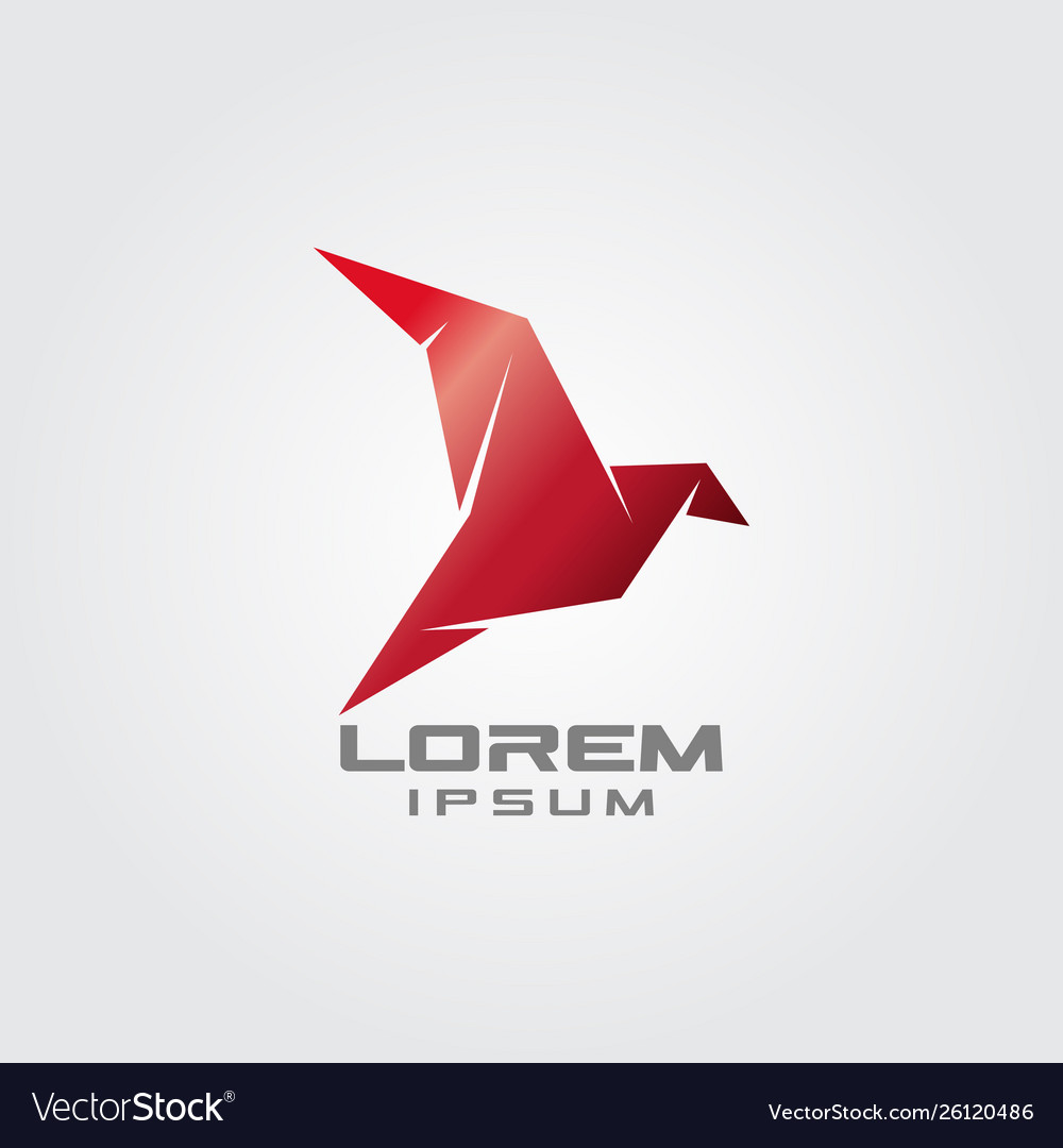 Flying origami red dove logo