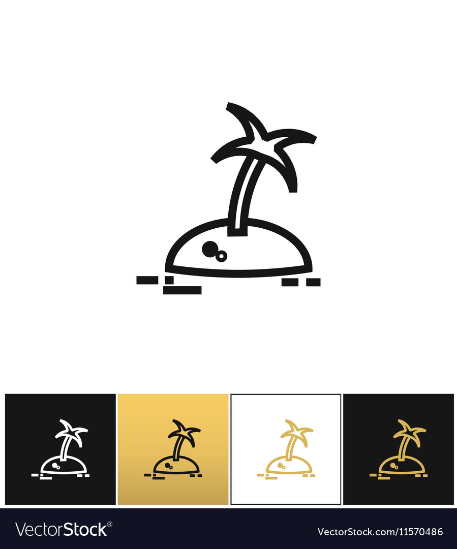 Island with palm tree travel icon