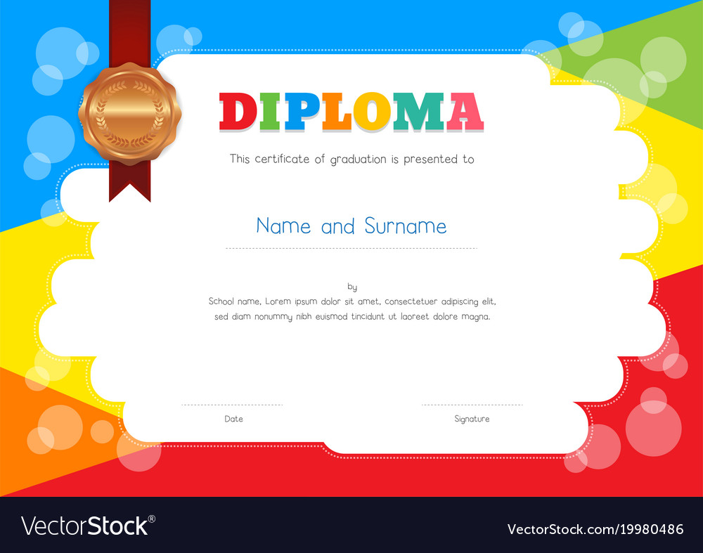kids diploma or certificate template with vector image - Certificate Template For Kids