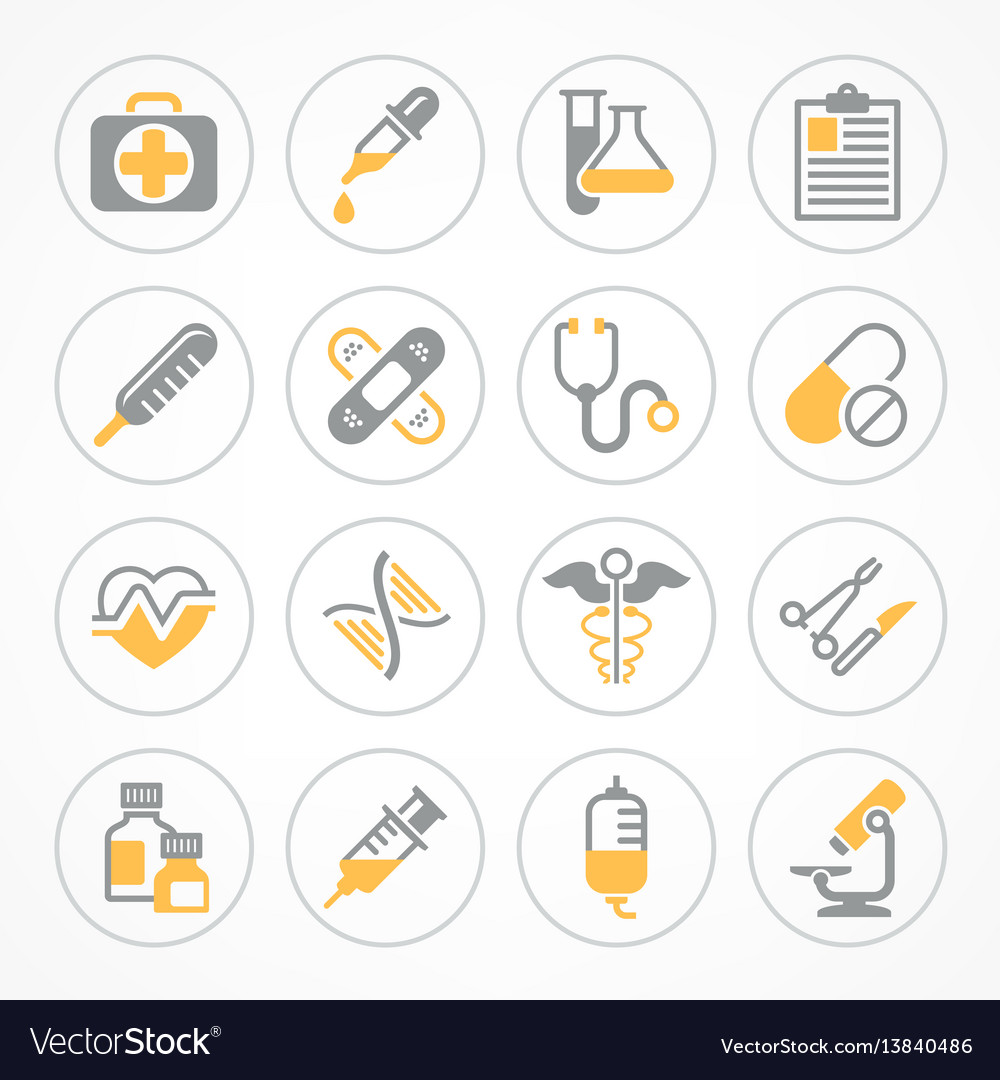Medical icons in yellow