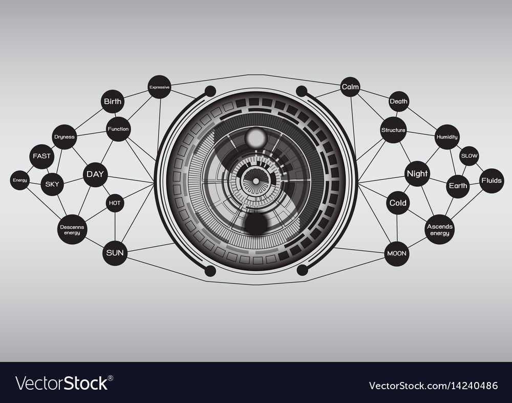 Modern yin yang with technology abstract