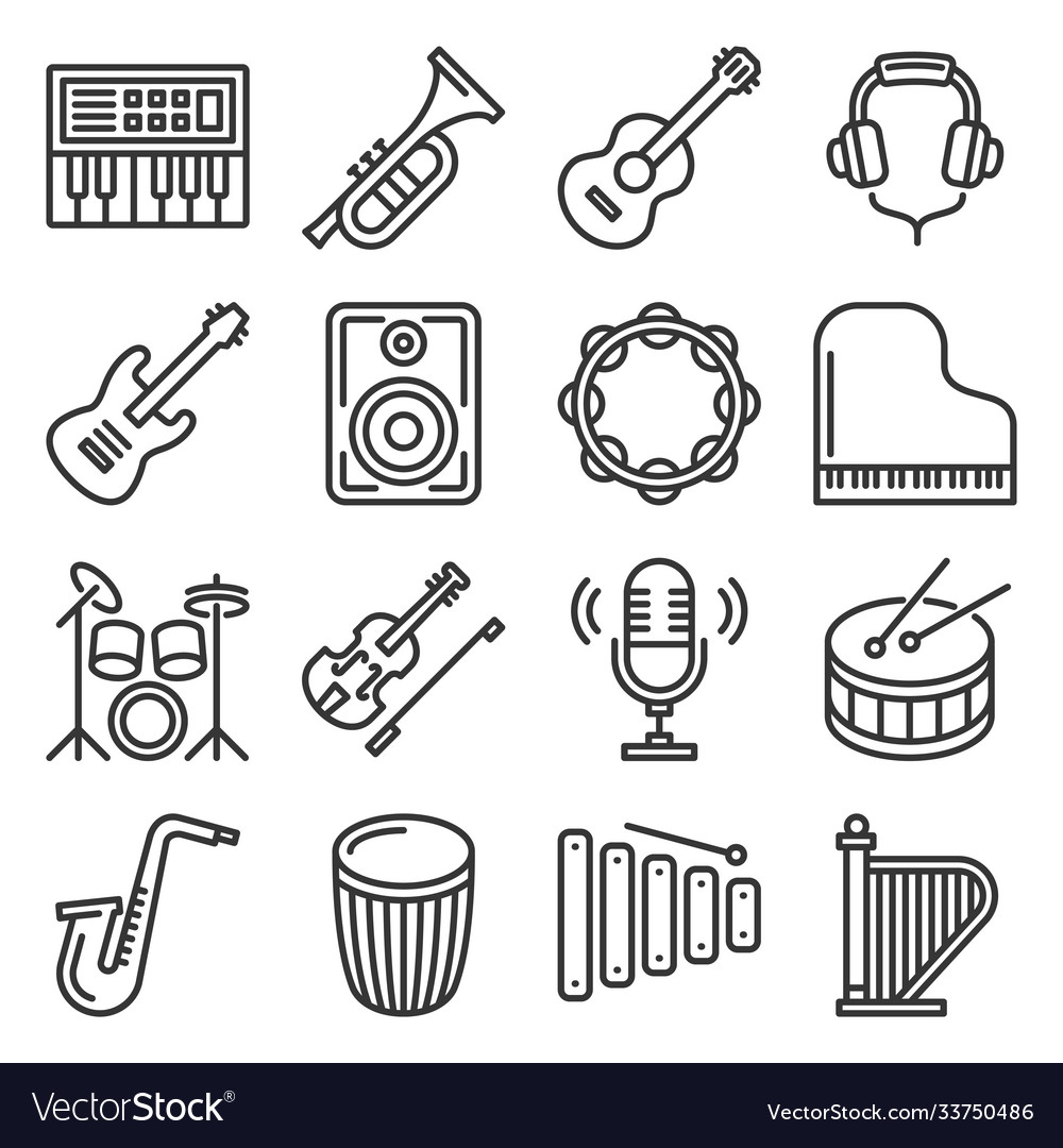 Musical instruments icons set on white background