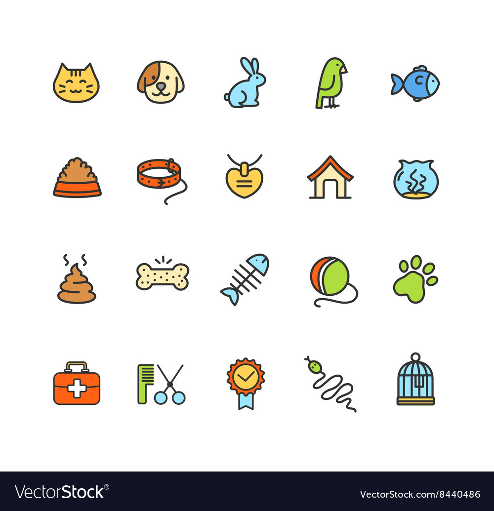 Pet Icon Colorful Set