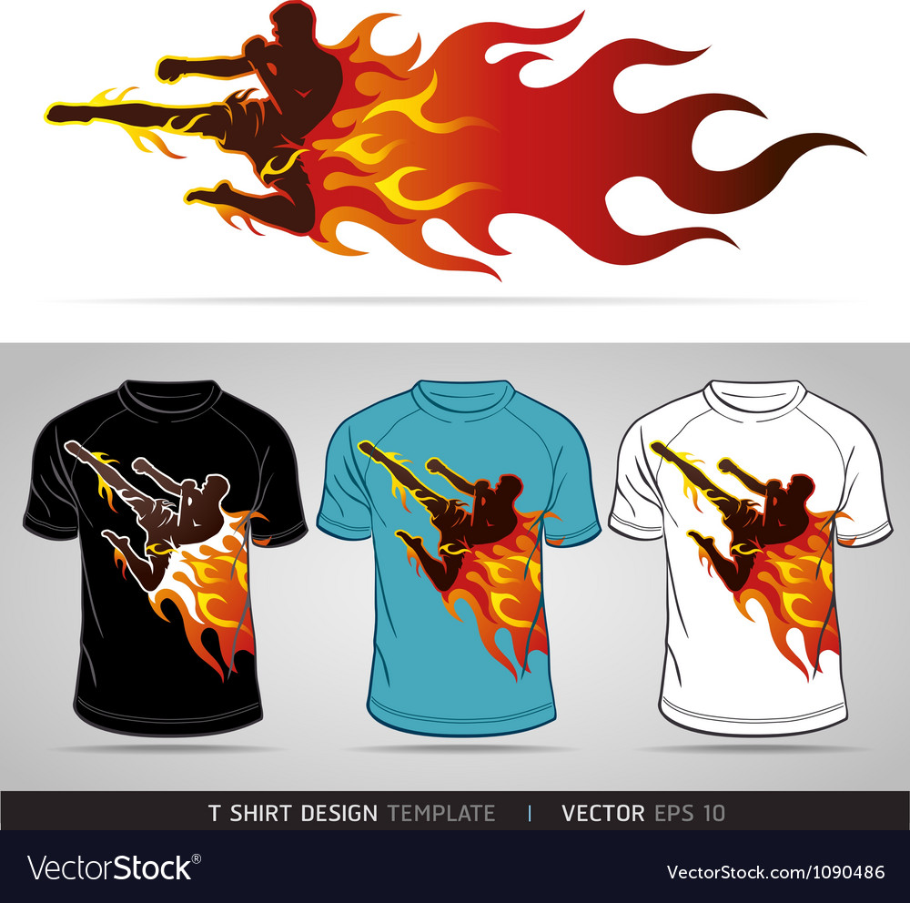 T Shirt Design Boxing Sport With Fire Royalty Free Vector