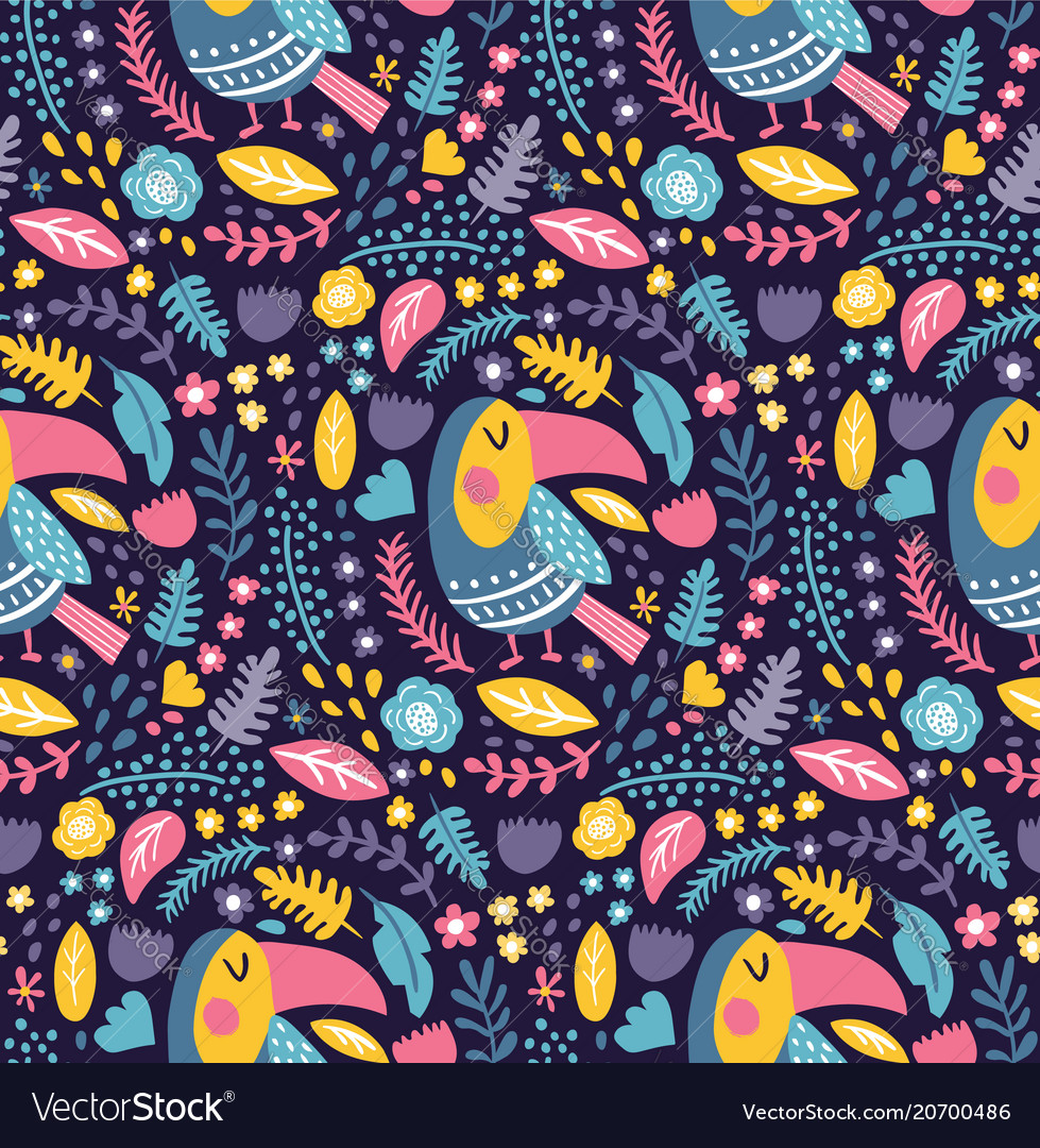 Toucan dark pattern vector image