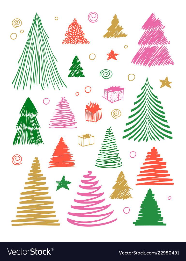 Big set of christmas tree doodle hand drawn