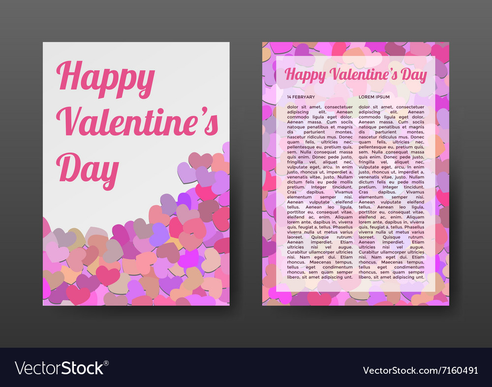 Brochure Happy Valentines Day with Pink Hearts