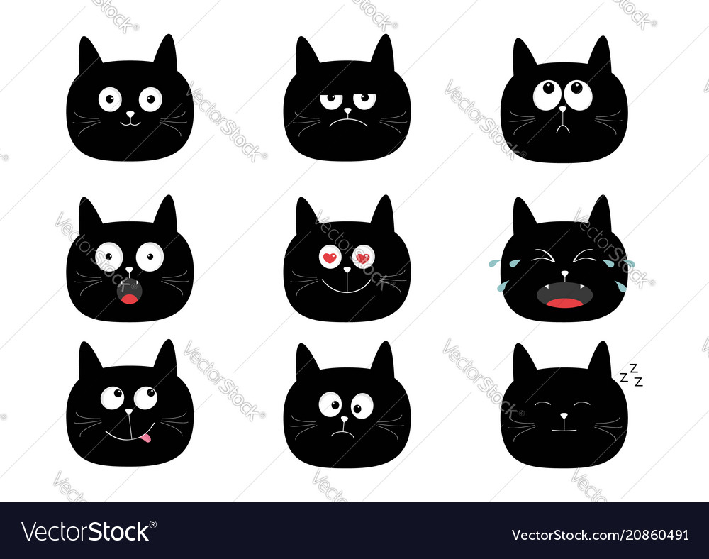 black and white cat characters cute black cat set funny cartoon characters