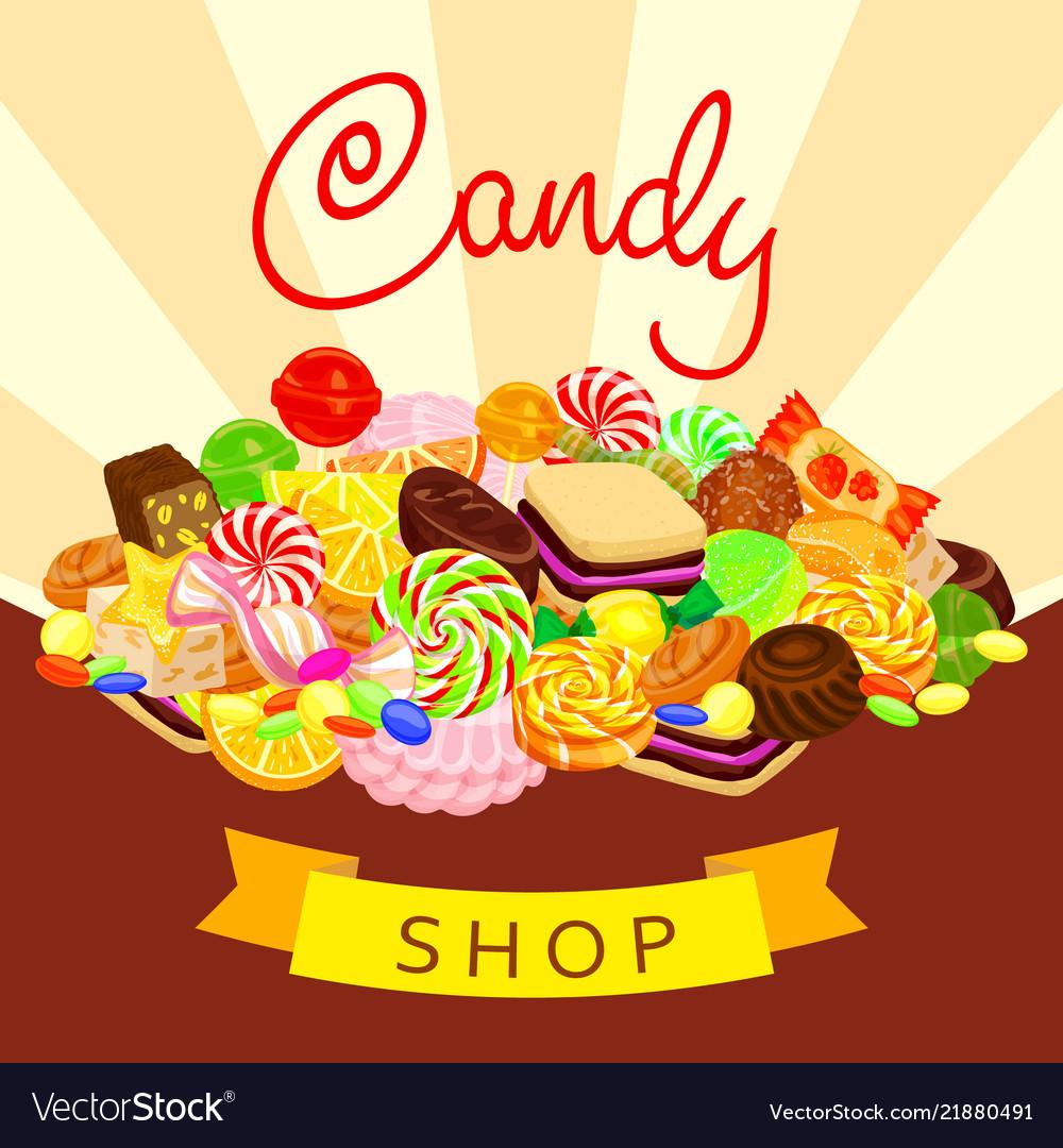 Delicious candy shop concept background cartoon