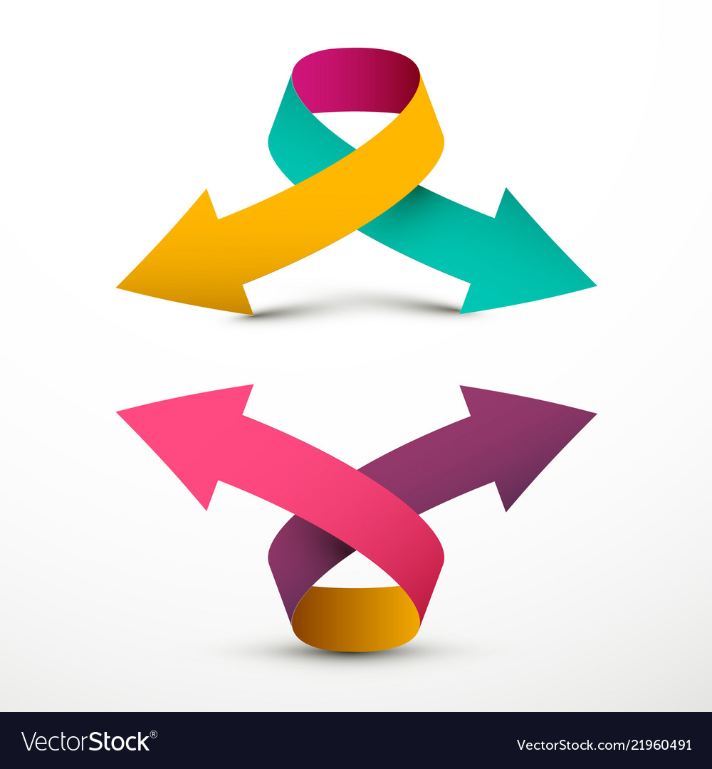 Double Arrow Logo Symbol Up And Down 3d Arrows Vector Image
