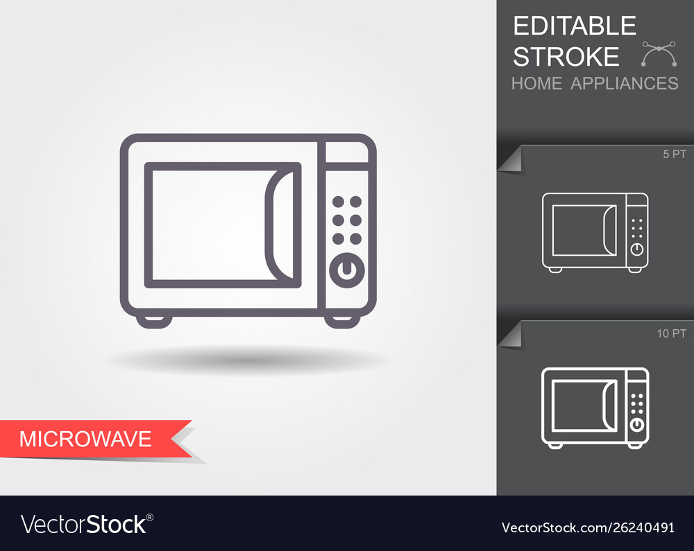 Microwave oven line icon with editable stroke