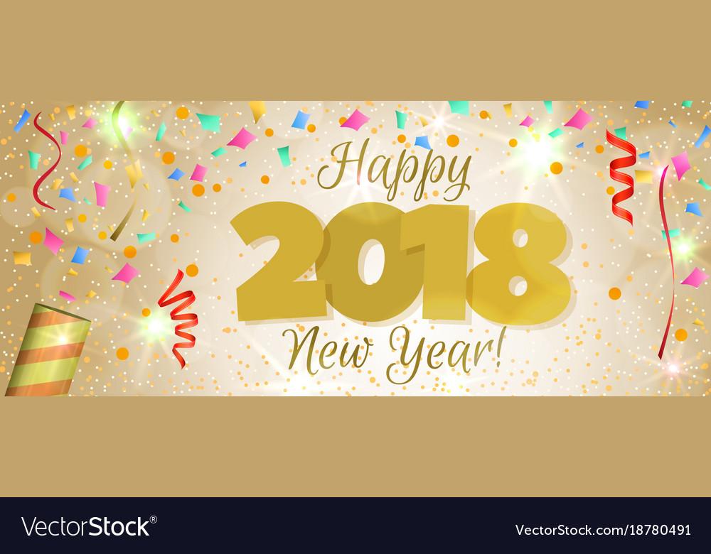 new year 2018 horizontal banner vector image