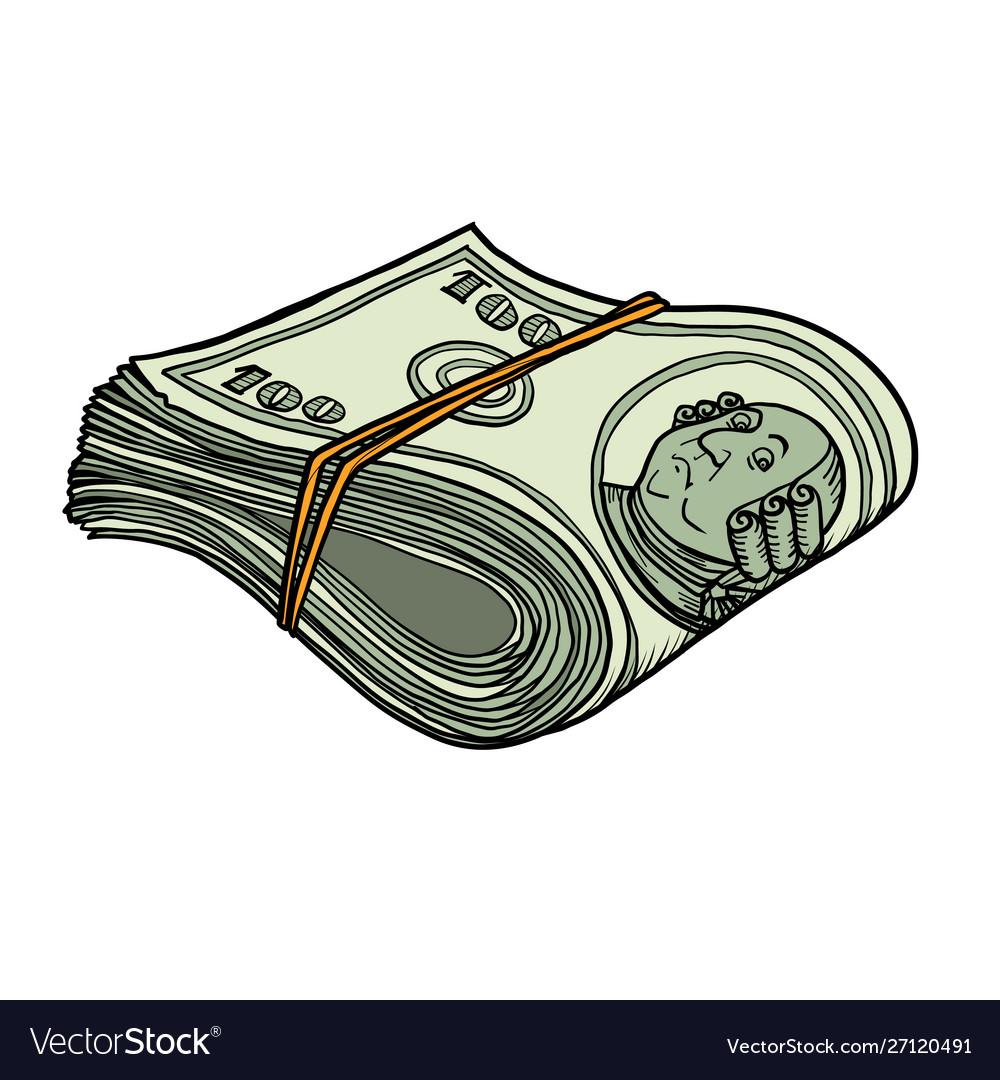 One hundred dollars bundle banknotes gum