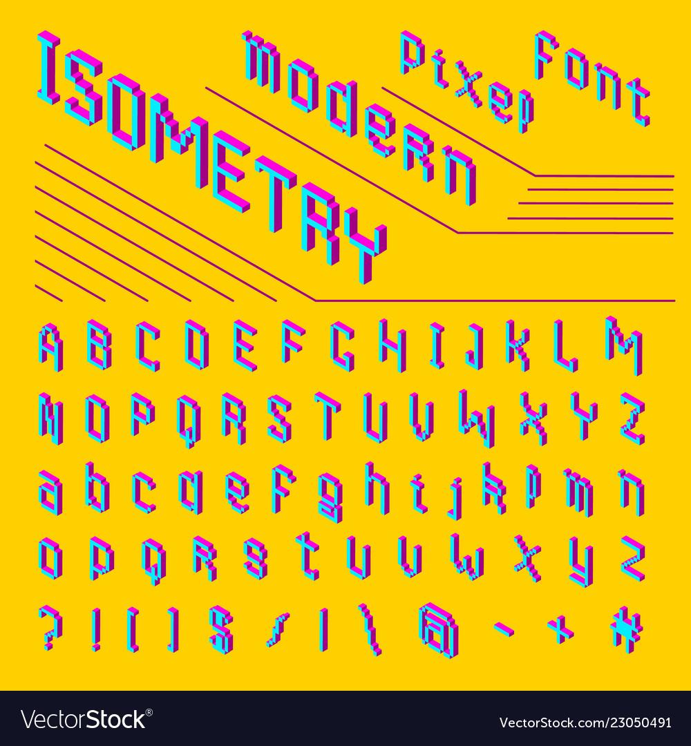 Pixel isometric font 8-bit symbols 3d digital
