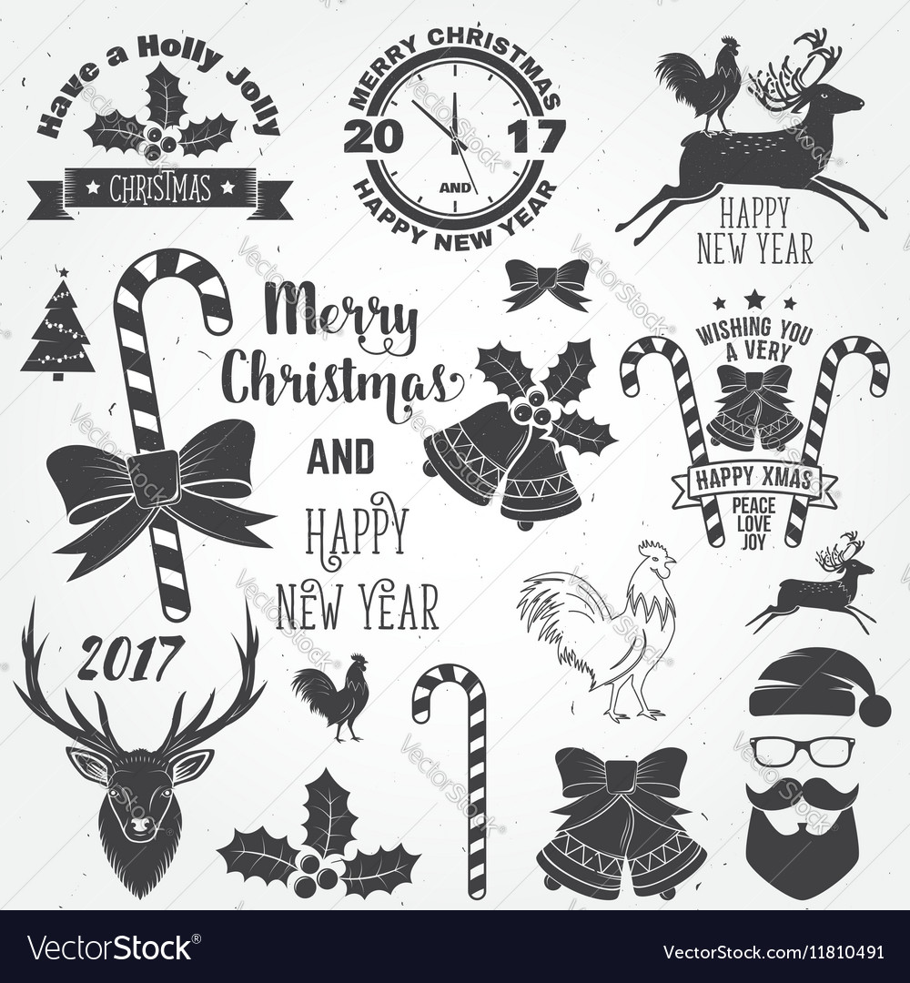 Set of Merry Christmas and Happy New Year 2017