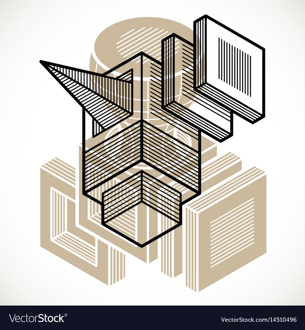 abstract geometric form 3d polygonal shape vector image