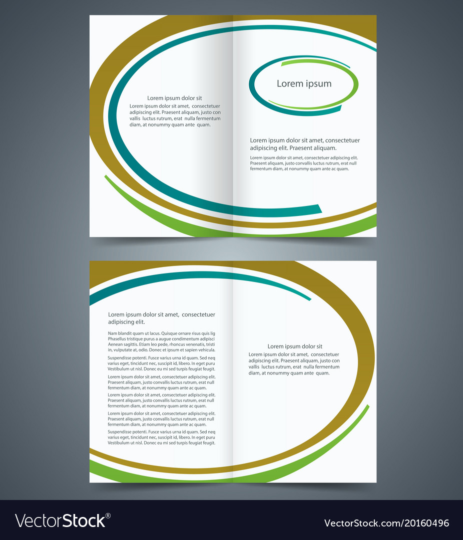 Booklet Template Design With Brown Blue Royalty Free Vector