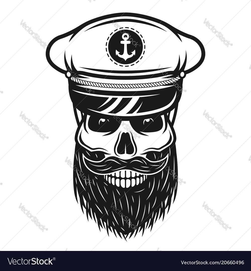 Captain skull in hat with beard