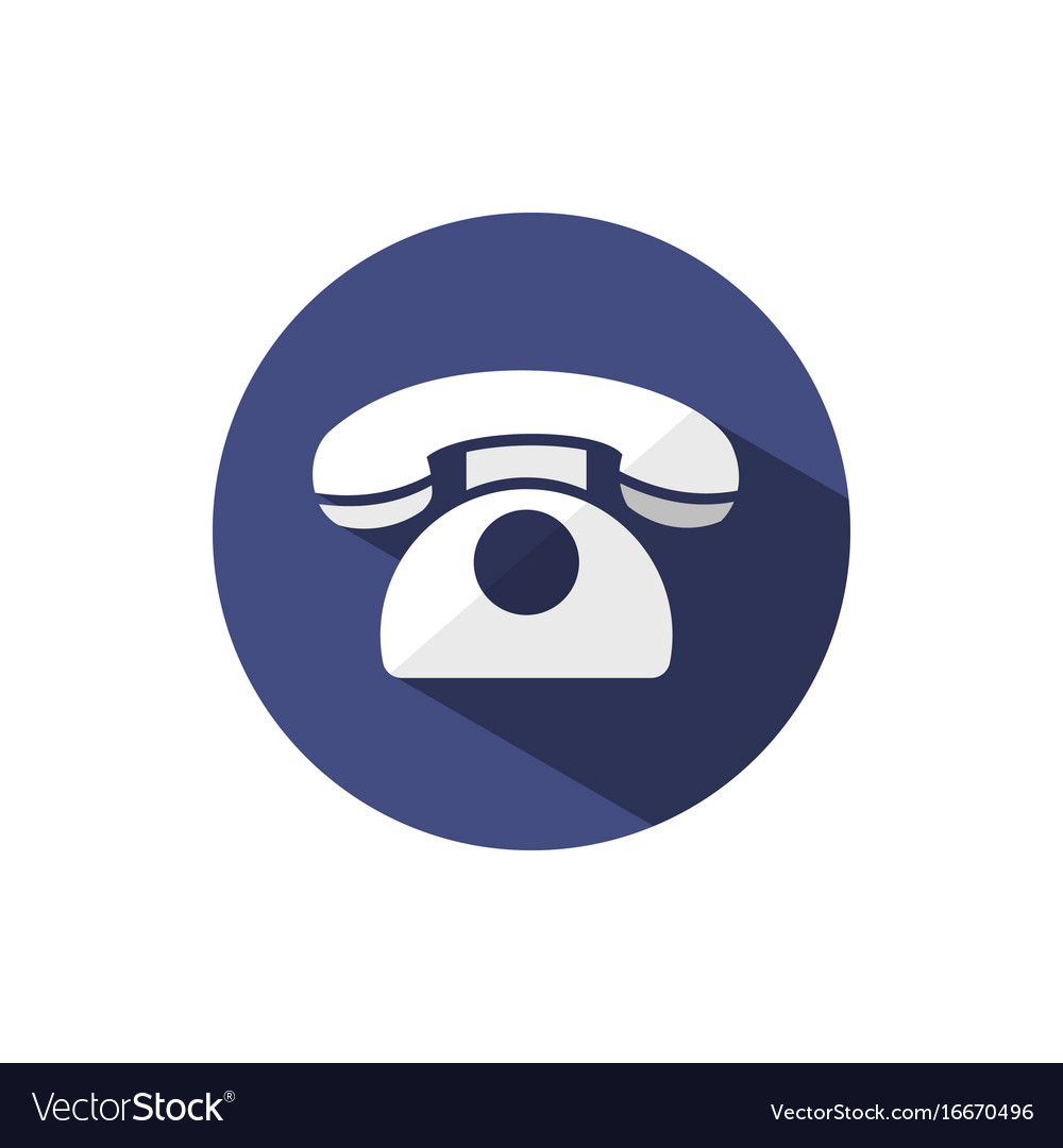 Classic phone icon with shadow on a dark blue