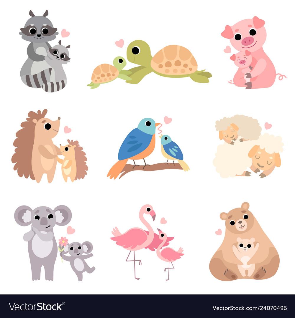 Cute animal families set raccoon turtle pig