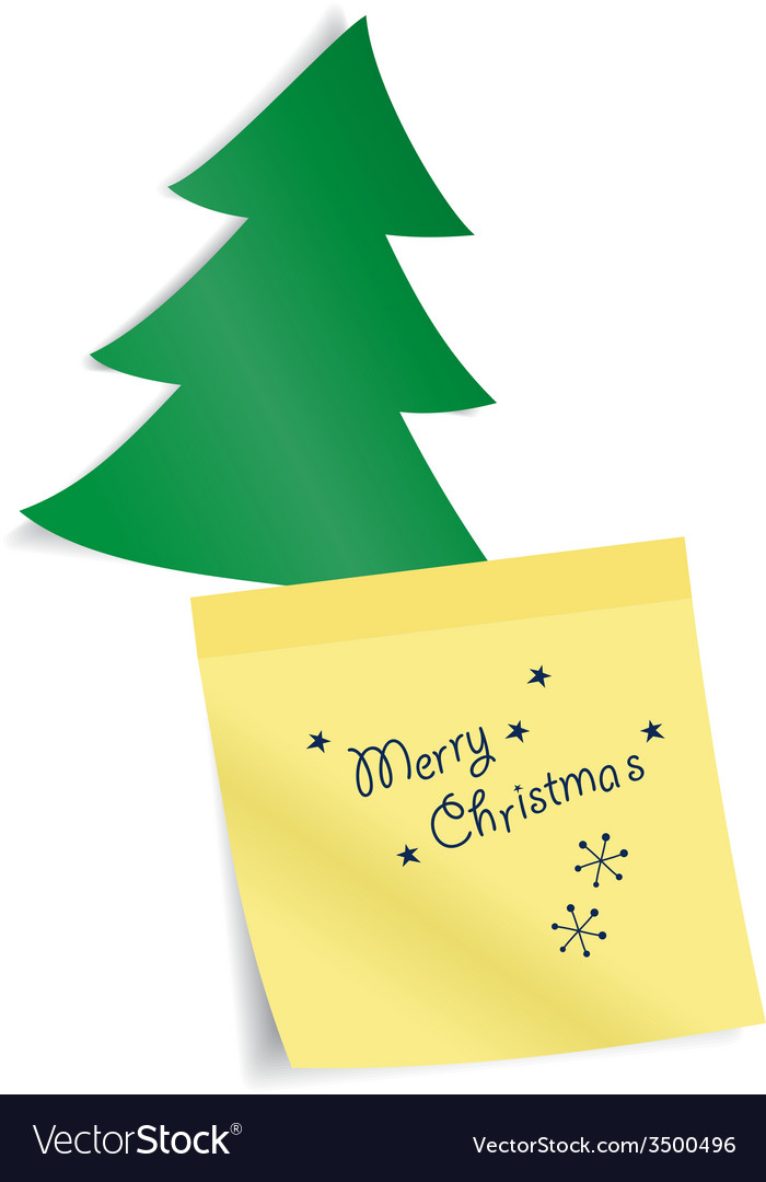 Fir tree with paper sticker vector image