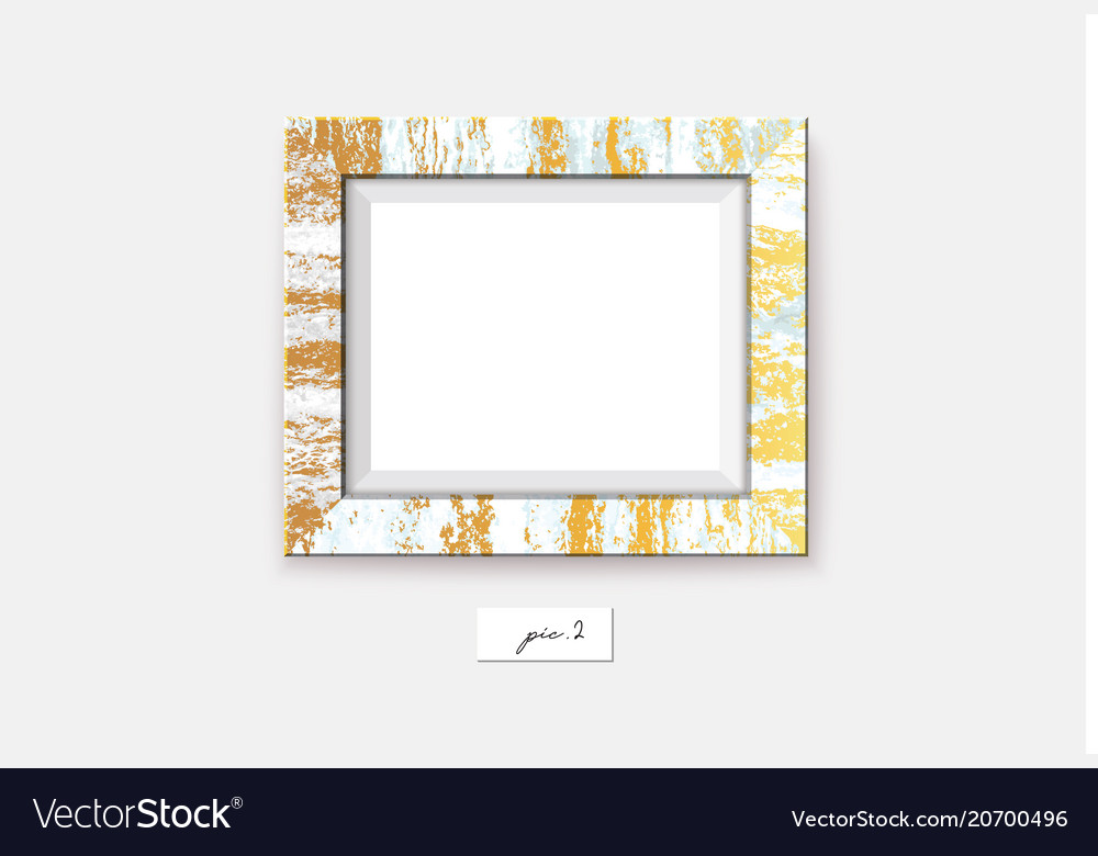 Golden marble frame on the wall